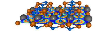 Crystal structure of MgF2He, together with a cross section of the electron localisation function (ELF). Grey/orange/blue spheres show the He/Mg/F atoms.